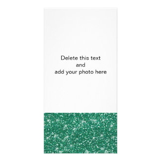 Teal Glitter Printed Custom Photo Card
