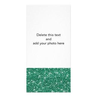 Teal Glitter Printed Photo Card
