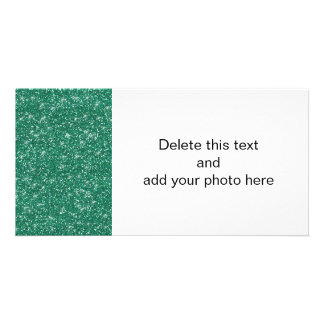 Teal Glitter Printed Photo Greeting Card