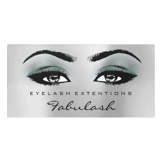 Teal Glitter Silver  Beauty Salon Lash Makeup Door Sign