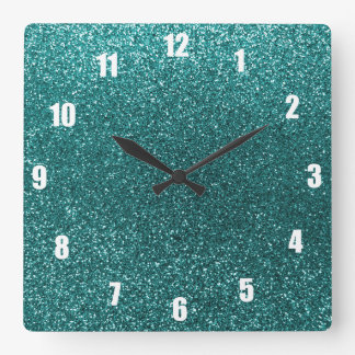 Teal glitter square wall clock