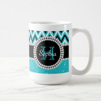 Teal Glitter Teal Chevron Monogrammed Coffee Mug