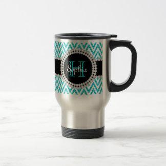 Teal Glitter White Chevrons Monogram Travel Mug