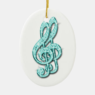 Teal Glitzy Sparkly Diamond Music Notes Ceramic Oval Decoration
