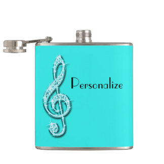 Teal Glitzy Sparkly Music Notes Hip Flask