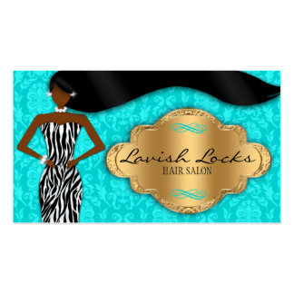 Teal Gold African American Hair Stylist Salon Pack Of Standard Business Cards