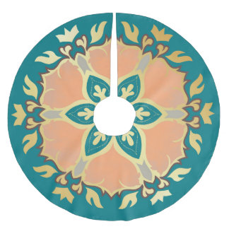 Teal, gold and peach Christmas Mandala Brushed Polyester Tree Skirt