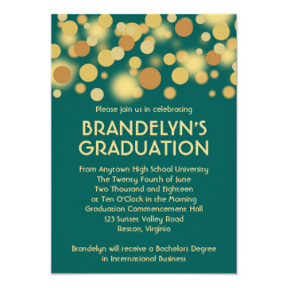 "Teal Gold Celebration Graduation Announcement 5"" X 7"" Invitation Card"