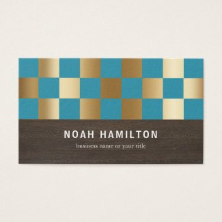 TEAL & GOLD CHECKED SQUARES | BUSINESS CARDS