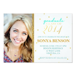 Teal & Gold Class of 2014 Graduation Invitation