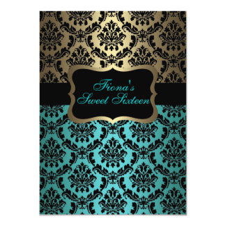 "Teal & Gold Elegant Damask Birthday Invite 4.5"" X 6.25"" Invitation Card"