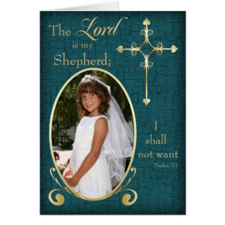 Teal Gold First Communion Photo Thank You Card
