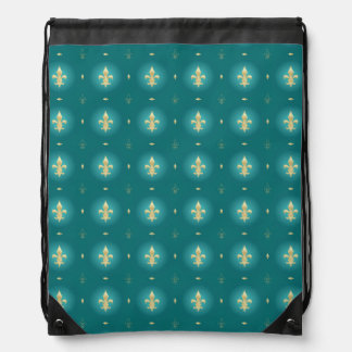 Teal & Gold Fleur De Lis Green backpack