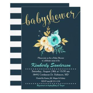 Teal Gold Floral Baby Shower Invitation