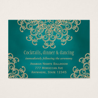 Teal Gold Indian Inspired Reception Enclosure Card
