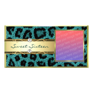 Teal Gold Leapord Pattern Personalized Photo Card