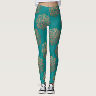 Teal Gold Mandalas Pattern | Zen Boho Yoga Pants