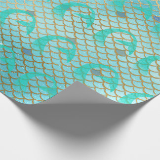 Teal Gold Mermaid Tails Girls Birthday Party Wrapping Paper