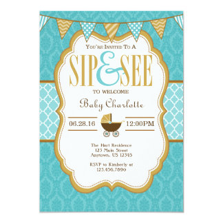 Teal Gold Sip And See Invitation