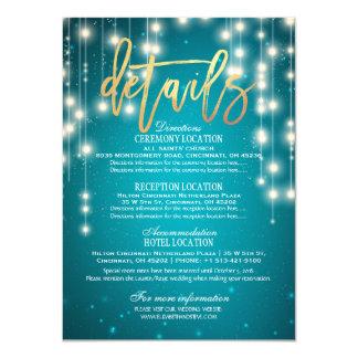 Teal Gold String Lights Wedding Detail Information Card