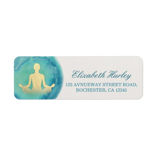Teal Gold Watercolor Yoga Mediation Instructor