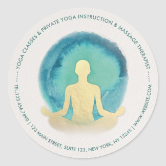 Teal Gold Watercolor YOGA Meditation Instructor Classic Round Sticker