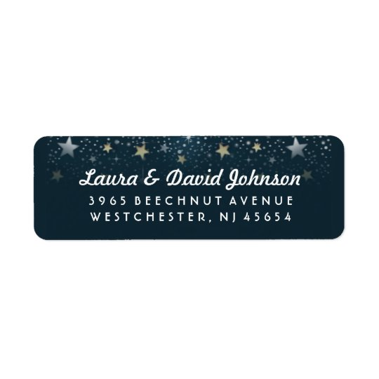 Teal Gold & White Stars Address Label