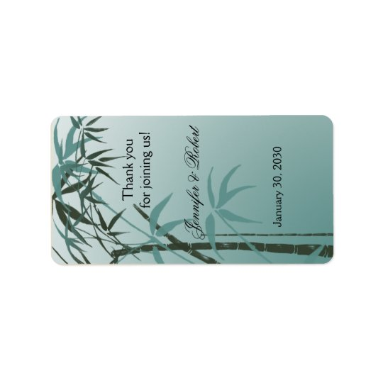 Teal Gradient Natural Bamboo Wedding Lip Balm Labe Label