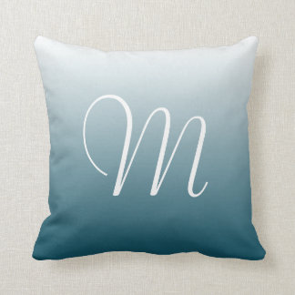 Teal Gradient Ombre Initial Monogram Cushion