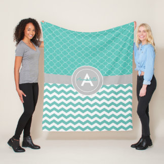 Teal Gray Chevron Quatrefoil Fleece Blanket