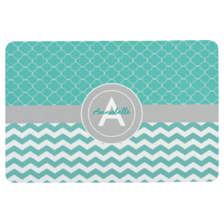Teal Gray Chevron Quatrefoil Floor Mat