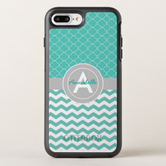 Teal Gray Chevron Quatrefoil OtterBox Symmetry iPhone 8 Plus/7 Plus Case