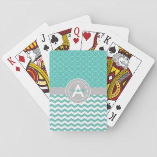 Teal Gray Chevron Quatrefoil Playing Cards