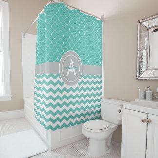 Teal Gray Chevron Quatrefoil Shower Curtain