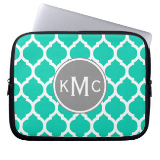 Teal Gray Moroccan Lattice Laptop Sleeve