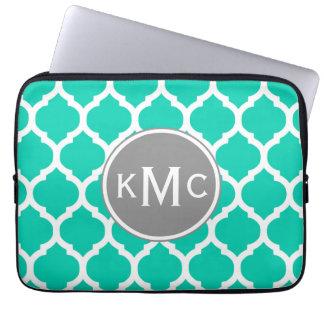 Teal Gray Moroccan Lattice Laptop Sleeve