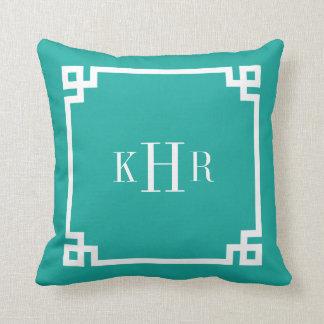 Teal Greek Key Border Custom Monogram Throw Pillow