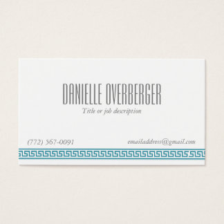 Teal Greek Key Classy Women's Business Card