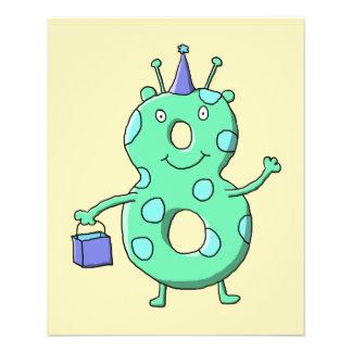 Teal green 8th birthday cartoon. flyers