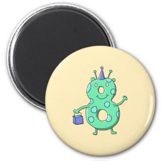 Teal green 8th birthday cartoon. refrigerator magnet