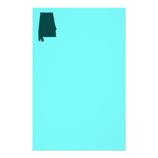 Teal Green Alabama Shape Stationery