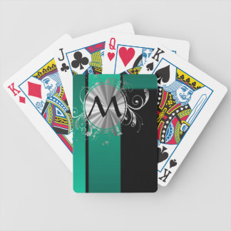 Teal green and black bicycle playing cards