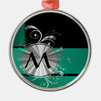 Teal green and black christmas ornament