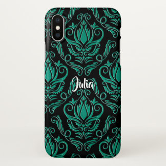 Teal Green and Black Damask iPhone X Case