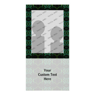 Teal Green and black floral pattern Customized Photo Card