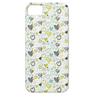 Teal Green and Black Hearts iPhone 5 Covers