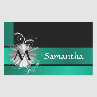 Teal green and black rectangle sticker
