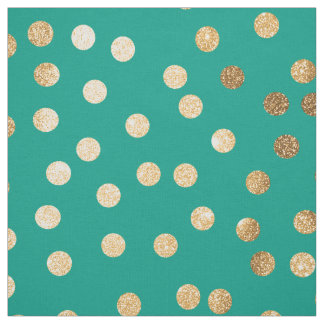 Teal Green and Gold Glitter City Dots Fabric