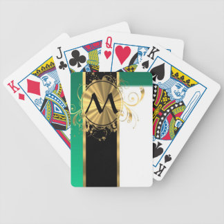 Teal green and gold monogram bicycle playing cards