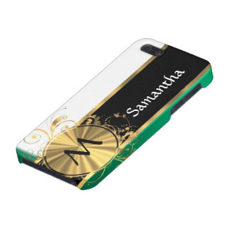 Teal green and gold monogram iPhone 5/5S case